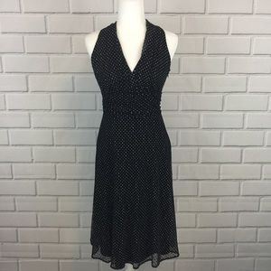 Evan Picone Sheer Overlay Polka Dots Stretch Dress